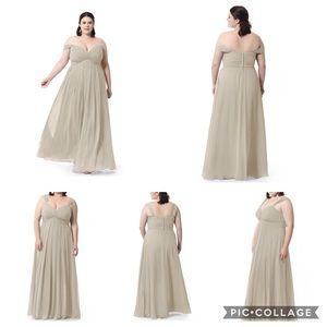 Azazie Taupe Kaitlynn Bridesmaid / Prom Dress